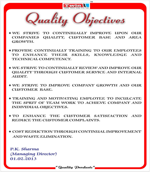 Twin Tech India Quality Objectives And Quality Policy